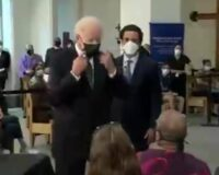 Video Shows Biden Get Inches from Woman's Face and Tell Her to Social Distance