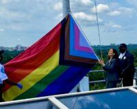 Biden's Interior Sec Hoists 'Progress Flag' Above Federal Building for Pride Day